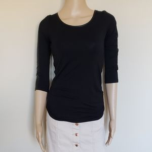 CHARLOTTE RUSSE BLACK FITTED SHIRT W/ SOFT LEATHER